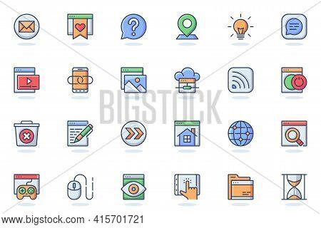 Website Ui Web Flat Line Icon. Bundle Outline Pictogram Of Development, Site Content, Buttons, Seo O