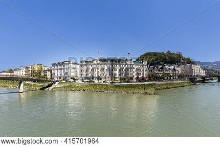 Salzburg, Austria - April 21, 2015: Hotel Sacher At Salzach River In Salzburg, Austria. The Hotel Wa
