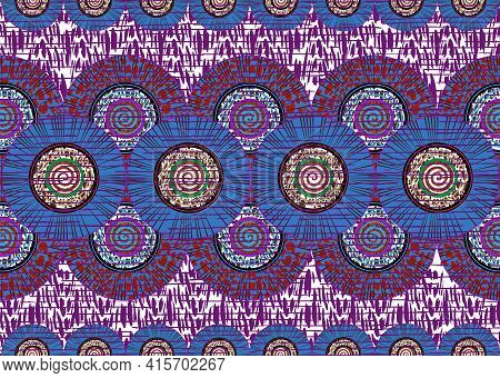 African Wax Print Fabric, Ethnic Handmade Ornament For Your Design, Afro Ethnic Sun Flowers And Trib