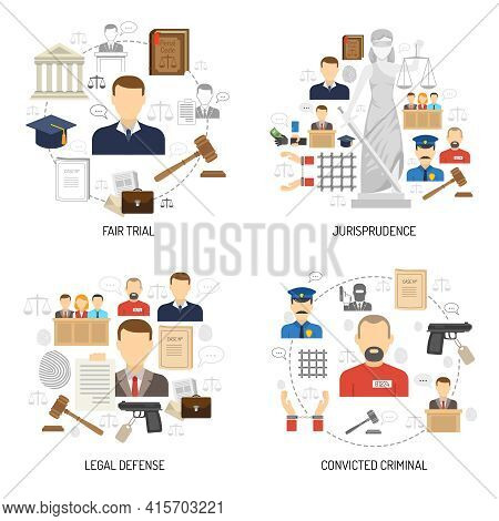 Jurisprudence Fair Trial Process With Legal Defense And Convict 4 Flat Icons Composition Abstract Is