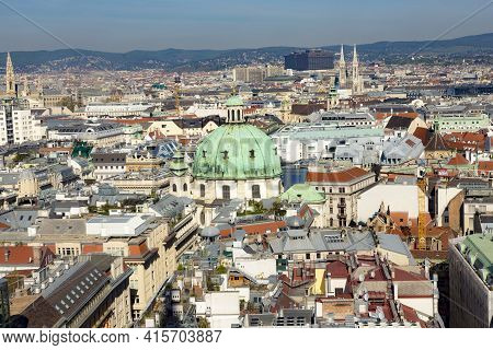 Vienna, Austria - April 25, 2015: Skyline Of Vienna  Seen From The St.stephan Cathedral.