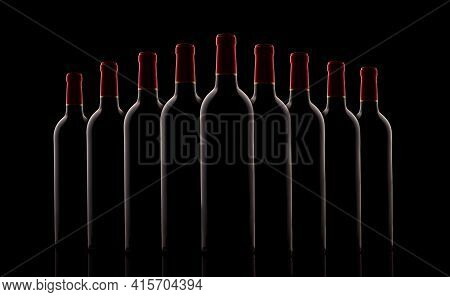 Red Wine Bottles In A Row