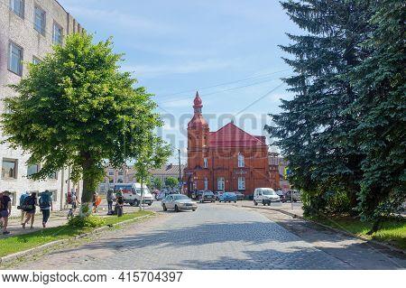 Ozersk (darkehmen, Angerapp), Kaliningrad Region, Russia, June 15, 2019. Post Office Building. Cultu