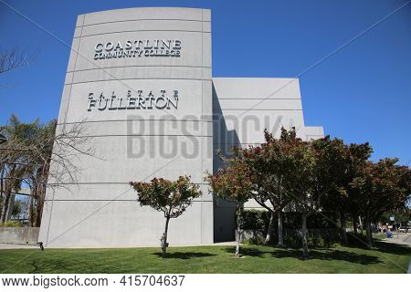 March 31, 2021 Fullerton, California - USA: Coast Line Community College Cal State Fullerton. Editorial Use Only.