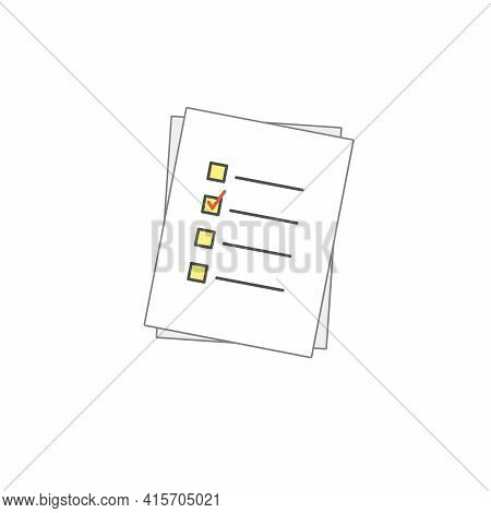 Check Form List On Papper Vector Icon. Checked Symbol. Approve Pictogram, Flat Vector Sign Isolated