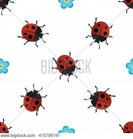 Vector Summer Seamless Pattern With Red Ladybirds-02