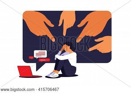 Cyber Bullying Concept. Depressed Woman Sitting On The Floor. Opinion And The Pressure Of Society. S