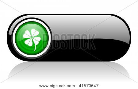 four-leaf clover black and green web icon on white background