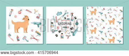 Set With Design Elements For Animal Grooming. Pet Haircut In Cartoon Style. Golden Retriever And Gro