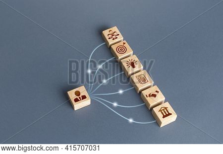 Businessman Blocks Linked With Business Attributes By Lines. Creation Of A Successful Company. Devel