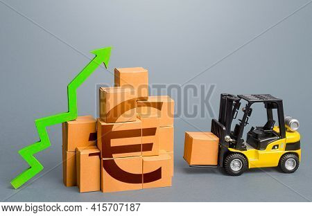 Forklift And Stack Of Boxes With Euro Symbol And Green Up Arrow. Sales Growth Concept. Production, F