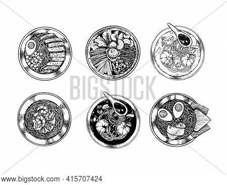 Hand Drawn Vector Illustration. Asian Food. Different Types Of Ramen, Noodle, Tom Yam Soup, Bibimbap