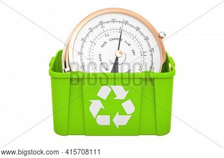 Recycling Trashcan With Barometer. 3d Rendering Isolated On White Background