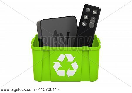 Recycling Trashcan With Digital Media Player. 3d Rendering Isolated On White Background