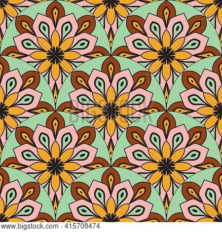 Scale Mandala Seamless Pattern With Ornamental Floral Motifs