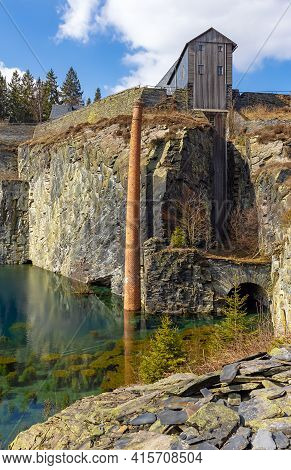 Lehesten, Slate Park In Thuringia, Germany.  Abandoned Slate Mining And Production Plant. Artificial