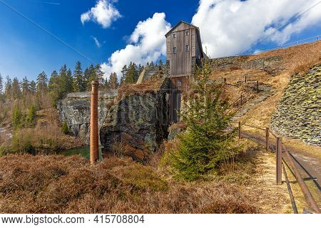 Lehesten, Slate Park In Thuringia, Germany.  Abandoned Slate Mining And Production Plant.