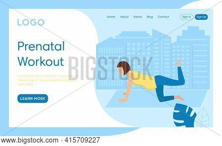 Prenatal Workout Concept Illustration. Vector Composition, Flat Cartoon Style Art. Webpage Interface