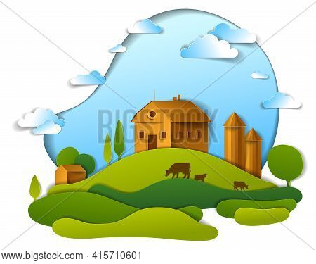 Scenic Landscape Of Farm Buildings Among Meadows Trees And Clouds In The Sky, Vector Illustration Of
