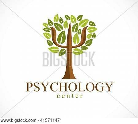 Psychology Concept Vector Logo Or Icon Created With Greek Psi Symbol As A Green Tree With Leaves, Me