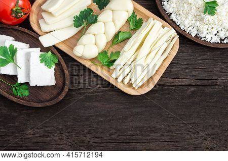 Traditional Various Cheeses, String, Knitted, Cecil, Cottage And Feta Cheese, Turkish Delicatessen C
