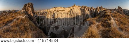 The Picturesque Panorama Of Cappadocia At Sunset, Amazing Turkey, Mountains And Rock Formation, Big