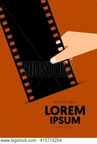 Movie And Film Poster Design Template Background With Vintage Retro Filmstrip. Can Be Used For Backd