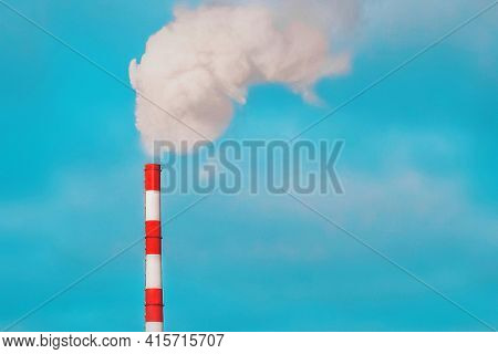Environmental Pollution, Environmental Problem, Smoke From The Pipe Of An Industrial Plant Or Therma