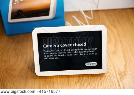 Paris, France, - Dec 18, 2020: Camera Cover Closed Message On The New Amazon Echo Show 8 Iot Persona