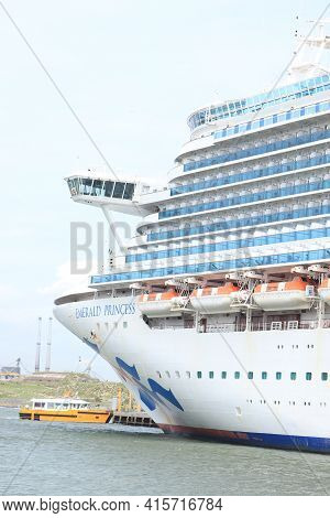 Ijmuiden, The Netherlands - July 3rd 2020: Emerald Princess, Moored At Felison Terminal For Foraging