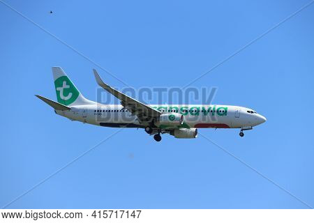 Amsterdam, The Netherlands - August, 7th 2020: Ph-hzl Transavia Boeing 737-800 Final Approach To Pol
