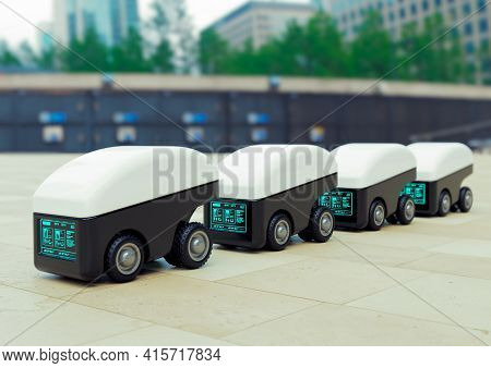 Delivery Robot Car Fleet, Intelligent Automaton Vehicle For The Delivery Of Food And Products. 3d Il