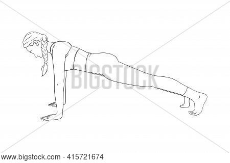 High Plank Exercise. Fit Planking Woman Training In The Gym. Engraved Vector Illustration In White B
