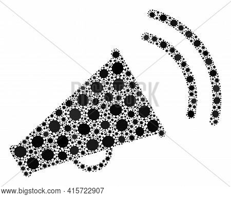 Vector Marketing Horn Coronavirus Mosaic Icon Constructed For Clinic Illustrations. Marketing Horn M
