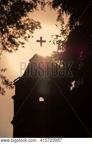 Inspirational And Spiritual Silhouette Of A Catholic Church