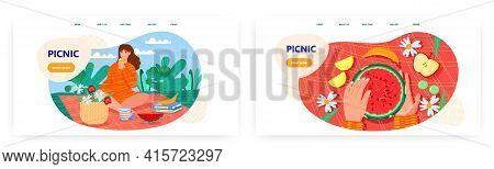 Picnic Landing Page Design, Website Banner Vector Template Set. Woman Having Outdoor Picnic. Summer