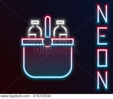 Glowing Neon Line Cooler Bag And Water Icon Isolated On Black Background. Portable Freezer Bag. Hand