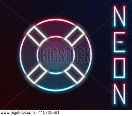 Glowing Neon Line Lifebuoy Icon Isolated On Black Background. Life Saving Floating Lifebuoy For Beac