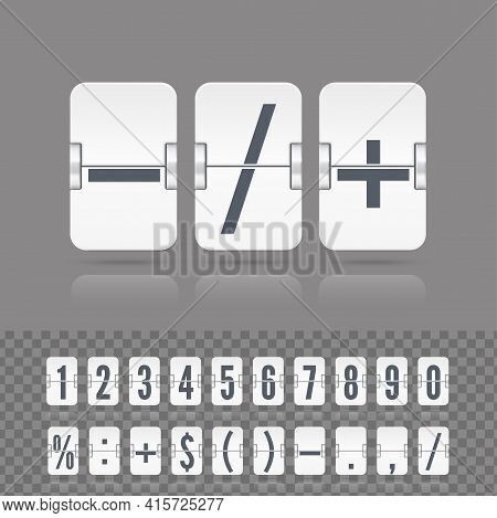 White Analog Countdown Font. Vector Illustration Template. Floating Flip Number And Symbol Scoreboar