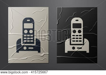 White Telephone Icon Isolated On Crumpled Paper Background. Landline Phone. Paper Art Style. Vector
