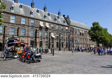 The Hague, Netherlands - July 03, 2018: The Binnenhof Building Is The Residence Of The Prime Ministe