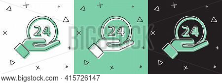 Set Clock 24 Hours Icon Isolated On White And Green, Black Background. All Day Cyclic Icon. 24 Hours