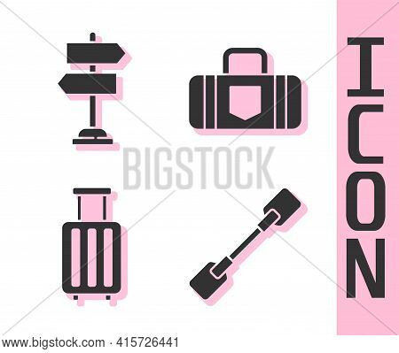 Set Paddle, Road Traffic Sign, Suitcase And Suitcase Icon. Vector