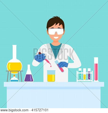 Man Chemist Doing New Analytical Experiment Work In Laboratory. Scientist With Analytical Chemistry.