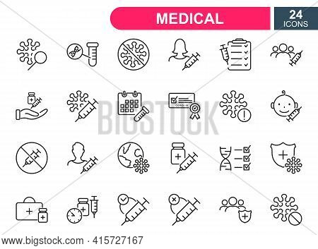 Set Of Vaccine Line Icons. Injection, Prevention And Treatment Of Covid. Medical Syringe And Ampoule
