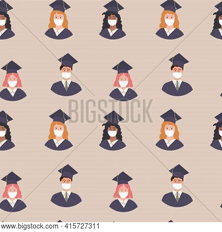 Seamless Pattern Of Graduated Multi Ethnic Diverse Students Avatar In Academic Gown And Cap. Pupil G