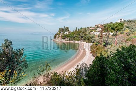 High Angle View Of Lagoudi Beach In Afissos, A Traditional Village Built Amphitheatrically On The Sl