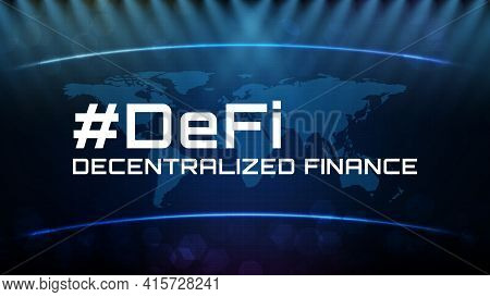 Abstract Futuristic Technology Background Of Defi -decentralized Finance And Line Connection