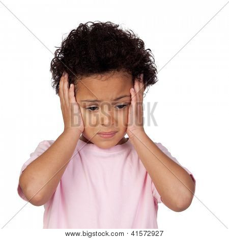 Sad latin child with headache isolated on white background