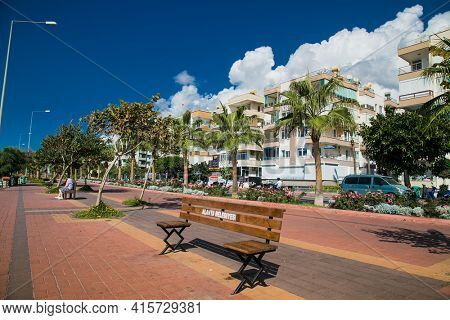 Alanya, Turkey - October 20, 2020: Special Corona Covid-19 bench, for keeping distance on Alanya promenade - Ahmet Tokus Boulevard along all Beaches.. Alanya, Turkey